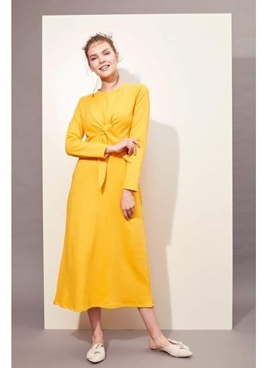 DeFacto Bağlama Detaylı Örme Elbise Oranj